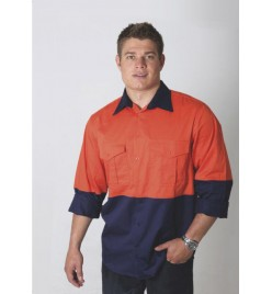 Cotton Drill Hi ViZ Shirt Adults